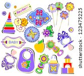 set of birthday accessories and ... | Shutterstock .eps vector #123475225
