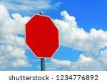 an empty red shield  stop... | Shutterstock . vector #1234776892