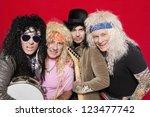 portrait of four hippie...   Shutterstock . vector #123477742
