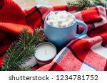 hot coffee cup with marshmellow ... | Shutterstock . vector #1234781752