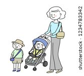 young mother pushing a baby... | Shutterstock .eps vector #1234783342