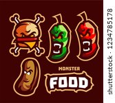 set monster food mascot logo... | Shutterstock .eps vector #1234785178