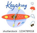 canoe and kayaking equipment... | Shutterstock .eps vector #1234789018