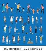 crowd of tiny people walking...   Shutterstock .eps vector #1234804318