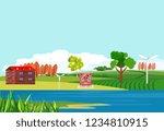 countryside theme vector... | Shutterstock .eps vector #1234810915