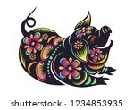 chinese zodiac sign year of... | Shutterstock .eps vector #1234853935
