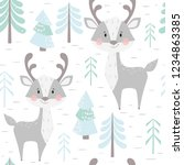 deer baby winter seamless... | Shutterstock .eps vector #1234863385
