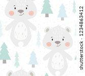 bear baby winter seamless... | Shutterstock .eps vector #1234863412