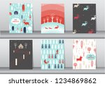 set of cute merry christmas ... | Shutterstock .eps vector #1234869862