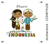 travel to indonesia. greeting... | Shutterstock .eps vector #1234874128