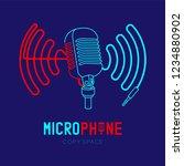 retro microphone logo icon...   Shutterstock .eps vector #1234880902