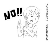 boy says no word vector... | Shutterstock .eps vector #1234893142