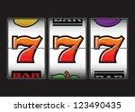 winner triple sevens at slot... | Shutterstock .eps vector #123490435