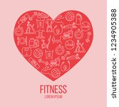 fitness colorful flat poster... | Shutterstock .eps vector #1234905388