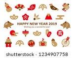boar   new years luck simple... | Shutterstock .eps vector #1234907758