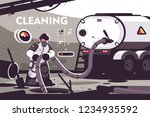 sewer cleaning service flat... | Shutterstock .eps vector #1234935592