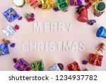 merry christmas   wooden word... | Shutterstock . vector #1234937782