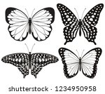 Stock vector butterfly silhouette icons set vector illustrations 1234950958