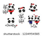 hand drawn panda bear set... | Shutterstock .eps vector #1234954585