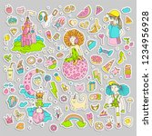 colored set of teenage girl... | Shutterstock .eps vector #1234956928
