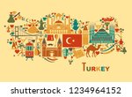 set of country turkey culture... | Shutterstock .eps vector #1234964152