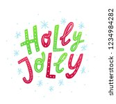 holly jolly. red and green...   Shutterstock .eps vector #1234984282