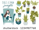 urban jungle  trendy home decor ... | Shutterstock .eps vector #1234987768