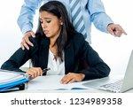 uncomfortable scared woman... | Shutterstock . vector #1234989358
