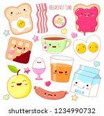 breakfast time. set of cute... | Shutterstock .eps vector #1234990732