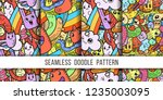collection of funny doodle... | Shutterstock .eps vector #1235003095