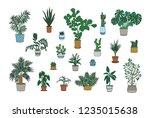 set of decorative houseplants... | Shutterstock .eps vector #1235015638