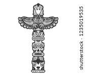 maya totem religious symbol of... | Shutterstock .eps vector #1235019535