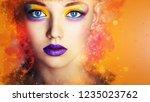 winter beauty woman. christmas...   Shutterstock . vector #1235023762