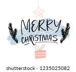 merry christmas minimalist card ... | Shutterstock .eps vector #1235025082