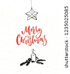 simple christmas card with red... | Shutterstock .eps vector #1235025085