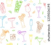 colorful doodle cocktails... | Shutterstock .eps vector #1235026195
