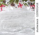 christmas wooden background. | Shutterstock . vector #1235031418