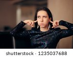 unhappy girl hating the loud... | Shutterstock . vector #1235037688