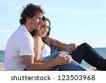 man and woman couple flirting... | Shutterstock . vector #123503968