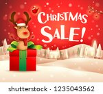 christmas sale  the red nosed... | Shutterstock .eps vector #1235043562