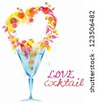 Abstract background with heart in glass, love cocktail foe Valentine design, vector - stock vector