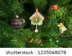 wooden toy clock with pendulum... | Shutterstock . vector #1235068078