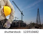 Pile driver  works to set precast concrete piles in a construction area 4 - stock photo