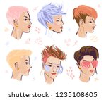 vector set of hand drawn young... | Shutterstock .eps vector #1235108605