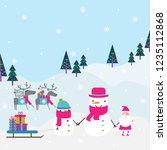 winter snowman and reindeer...
