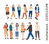 group of people walking ... | Shutterstock .eps vector #1235113198