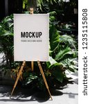 shop sign on an easel mockup | Shutterstock . vector #1235115808