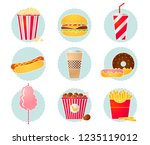 vector set of fastfood icons.... | Shutterstock .eps vector #1235119012