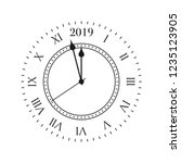 2019 clock. round retro clock... | Shutterstock .eps vector #1235123905