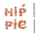 colorful hippie lettering print ... | Shutterstock . vector #1235129635